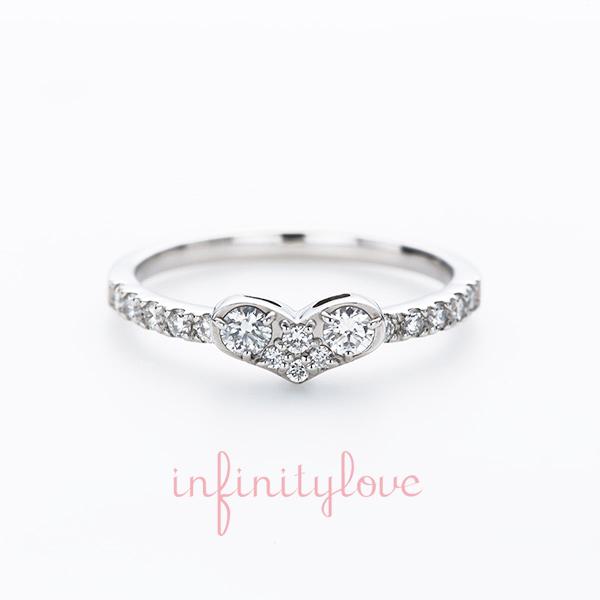 ハート ふっくらハート かわいい エンゲージ婚約リング インフィニティラブ銀座結婚指輪 人と被らない個性的なデザイン 圧倒的可愛さ