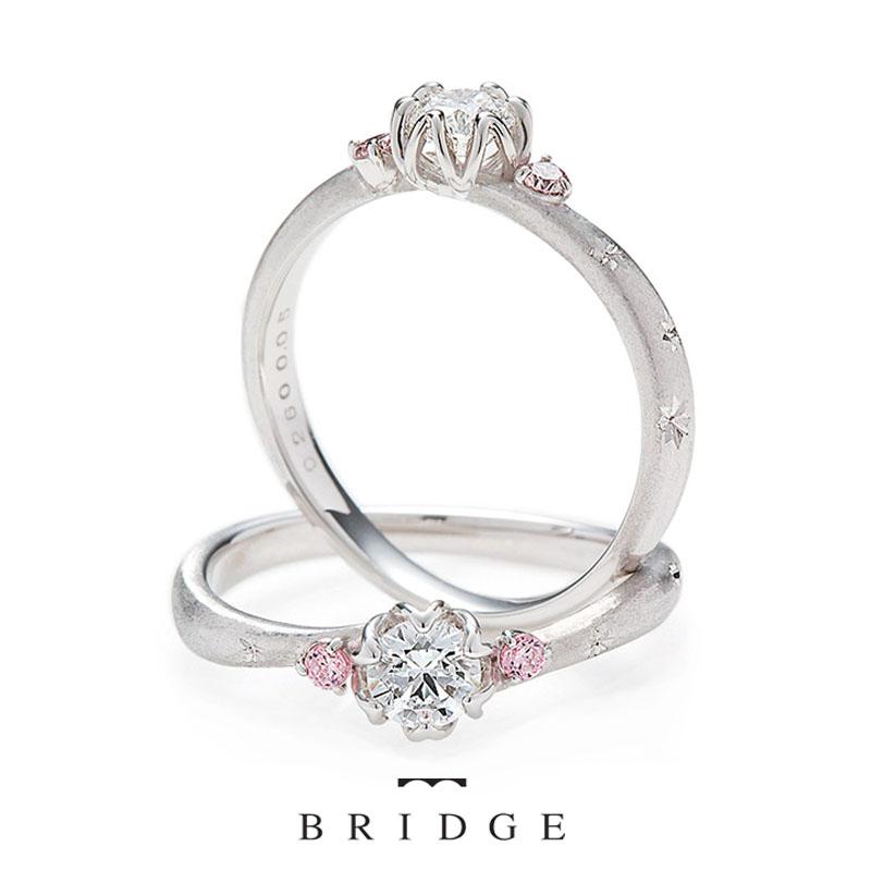 ピンクダイヤモンドがカワイイ春の妖精は雪割草など春の福寿草がモチーフの婚約指輪ブリッジ銀座でも人気が高い
