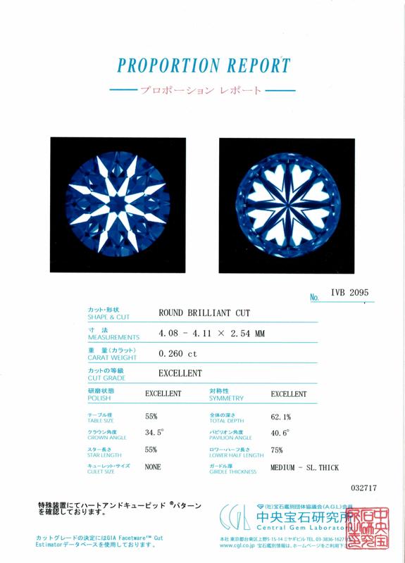 CGLダイヤモンドレポートBRIDGE銀座 国際基準GIAグレード4C 婚約指輪セミオーダー