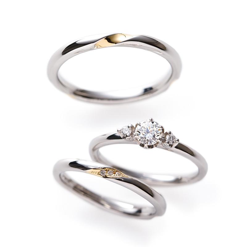 重ねつけがきれいな結婚婚約リングのセット銀座ブリッジでは大人花嫁にインスタでも人気のプラチナゴールドコンビネーションのデザイン多数そしてコスパ高い