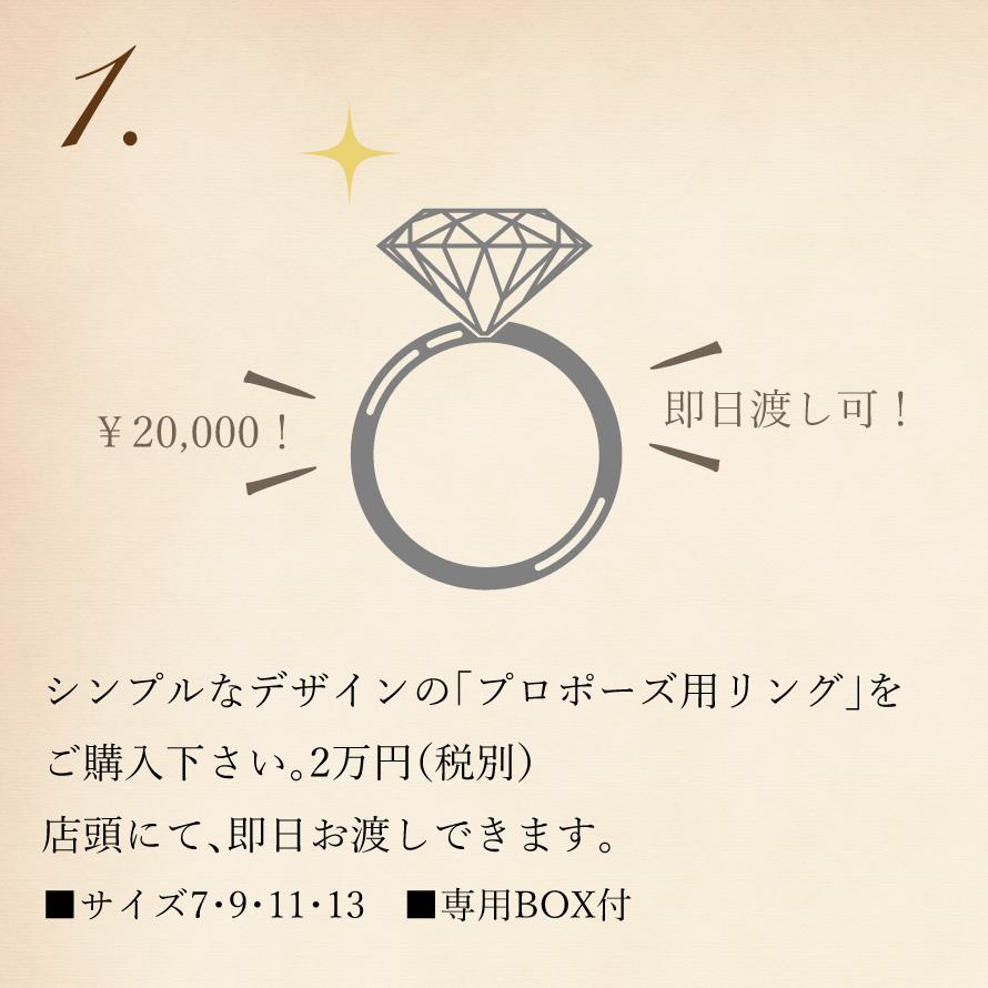 シンプルなデザインの「プロポーズ用リング」をご購入下さい。2万円(税別