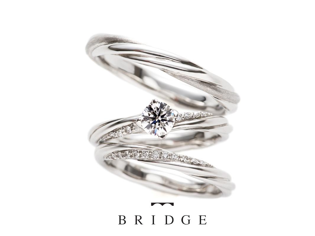 重ねつけで魅力倍増のブリッジ銀座の人気デザイン永遠の絆結婚指輪とよろこびの絆婚約指輪のセットリング