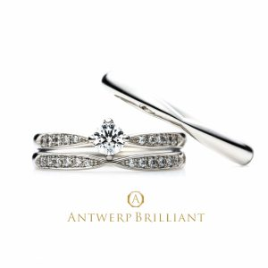 """""""Sirius"""" 4 claws collet Diamond side line Ring Set"""