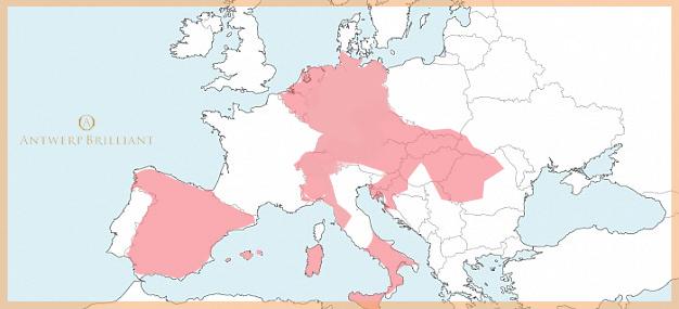 カール5世の支配地域神聖ローマ帝国ハプスブルグ家まりとマクシミリアンの孫ダイヤモンド研磨アントワープブリリアント銀座