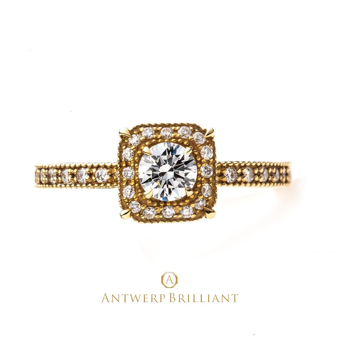 AntwerpBrilliant ミルグレインantiqueゴールド結婚リング 人気のデザイン
