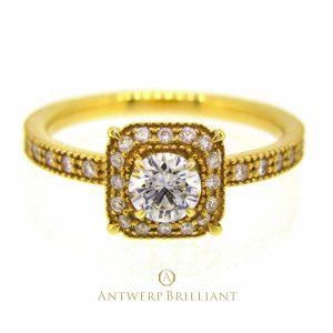 """""""Bruges"""" millgrain diamond surround ring"""