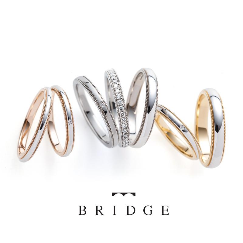 クラシカルなミルグレインがカワイイ美しい結婚指輪セミオーダーで豊富なカラバリをアレンジして楽しもう銀座ブリッジのブライダル
