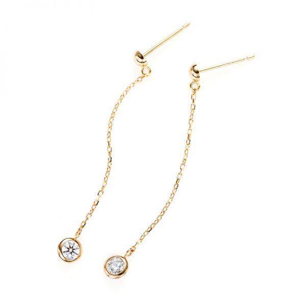 """""""Artemis"""" Double Bezel Setting Swing Daimond Pierced Earring"""