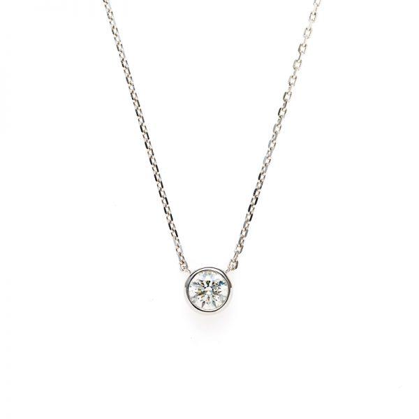 """""""Artemis"""" Double Bezel Setting Daimond Petit Necklace"""