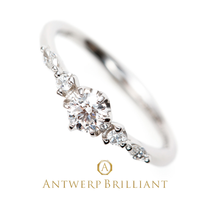 """""""Five Star"""" Round&Marquise cut Diamond Line Ring"""