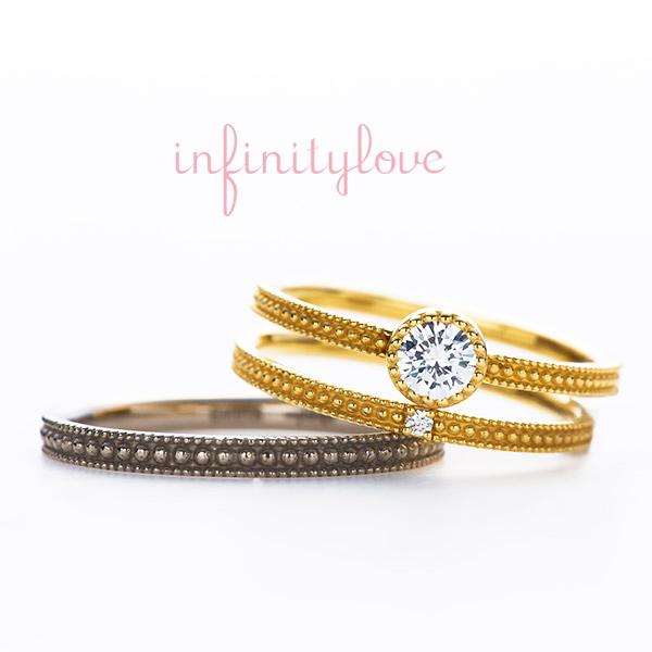 ダイヤモンドが美しく、シンプルなストレートにミルグレインのアンティーク調でオシャレな婚約指輪、結婚指輪