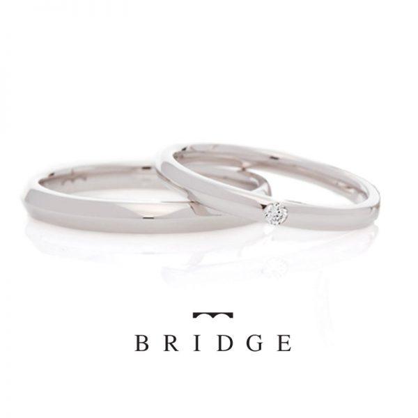 シンプルマリッジリング細め華奢で繊細なデザインおしゃれ花嫁なら注目で銀座ブリッジでも人気のワンポイントダイヤモンドの結婚指輪