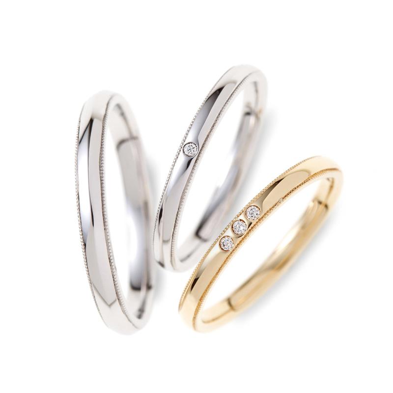 シンプルなデザインの中にミル打ちが光る素敵な結婚指輪