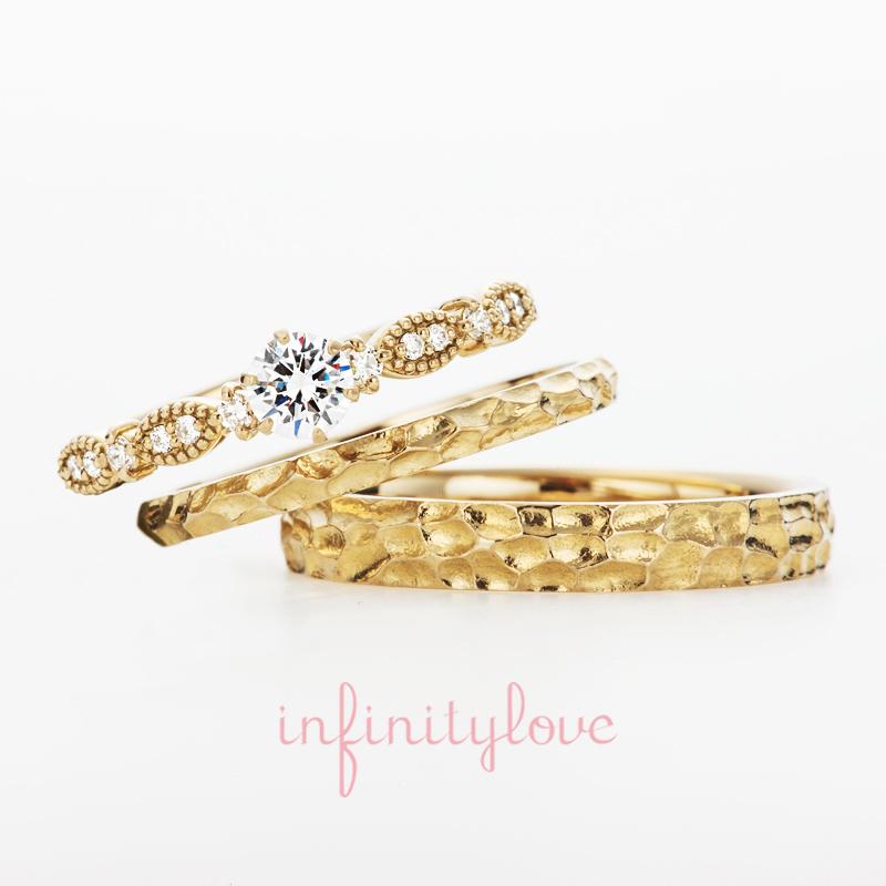 人とは少し違うデザインがいいとお探しだった方にオススメの結婚指輪・婚約指輪です。