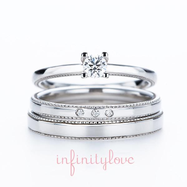 ストレートのシンプルでアンティーク調のデザインが人気の婚約指輪と結婚指輪