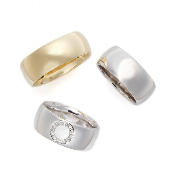 極太結婚指輪8mm幅幅が広く個性的で人気の高いブリッジ銀座の婚約指輪ゴールドアレンジでオリジナリティーを演出