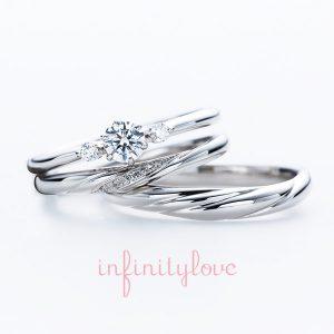 銀座で人気のAntwerpBrilliantGalleryのシンプルでプラチナのオシャレな婚約指輪と結婚指輪の重ね付け ジャスミン jasmine