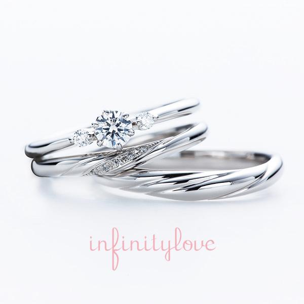 ブリッジ銀座アントワープブリリアントギャラリーで人気のシンプルで、美しいダイヤモンドラインが特徴の大人かわいい婚約指輪と結婚指輪 ジャスミン