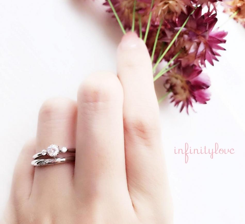 重ね付け やわらかい 大人の女性 大人かわいい メレダイヤモンド