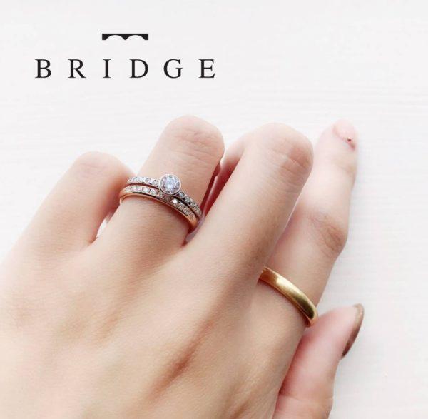 煌めく夕日重ねつけセットリング人気の結婚指輪婚約リングエンゲージリング