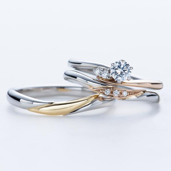 銀座で人気プラチナとピンクゴールドが可愛い婚約指輪 結婚指輪