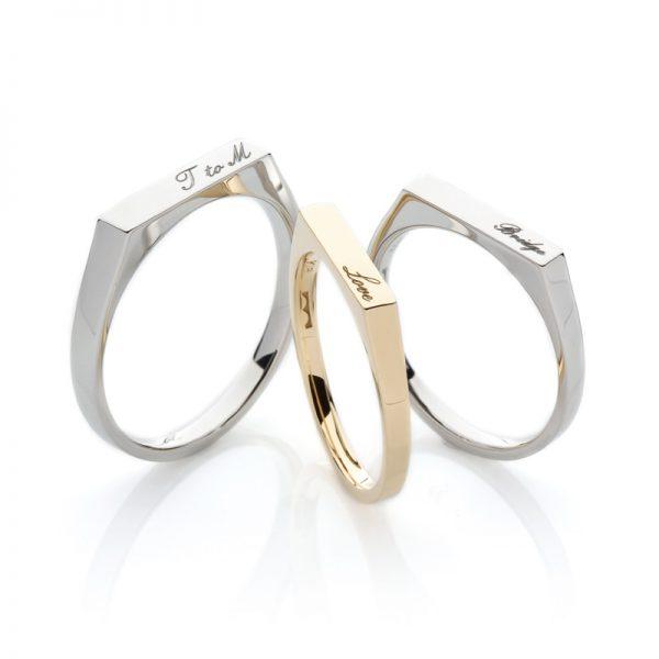 文字彫刻できる結婚指輪ポージー