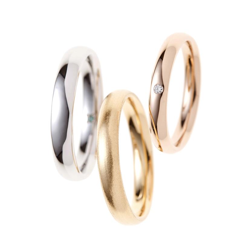 銀座で人気の結婚指輪ブランド BRIDGEがおススメするリング 幸せのカタチ ピンクゴールドやプラチナ、イエローゴールドと素材も自由に選ぶことが出来るシンプルなデザインのマリッジリングです。アクセントにダイヤモンドをセッティングして、さり気ない美しさを演出。