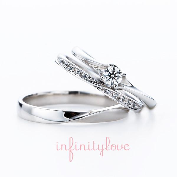 4つ爪が大人っぽい婚約指輪と華奢でダイヤモンドラインが華やかな結婚指輪