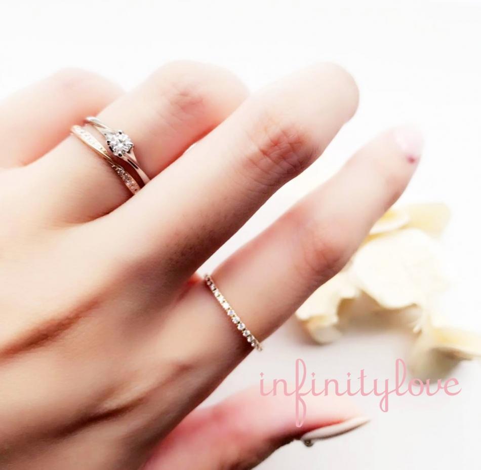 華奢でも華やかでシンプルだけど可愛い婚約指輪、結婚指輪