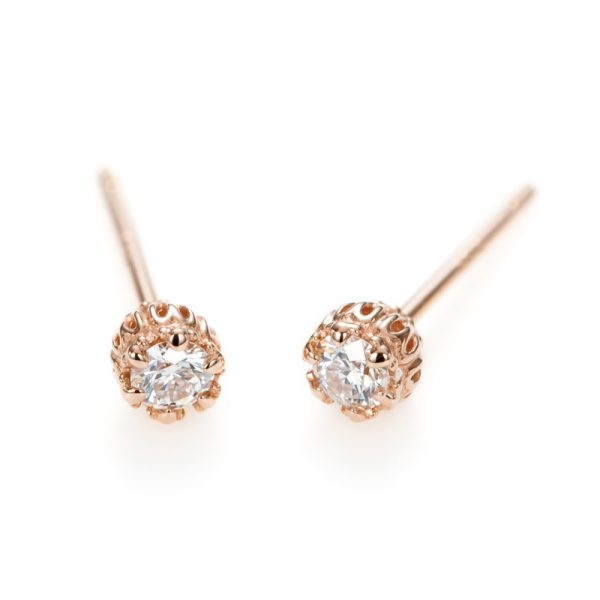 """""""Princess Marie"""" 6 Claws Collet Daimond Pierced Earring"""