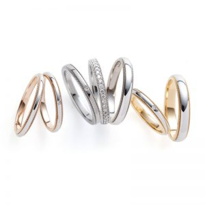 ミルグレインが美しい結婚指輪セミオーダーで豊富なをアレンジができる
