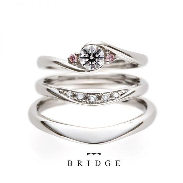 銀座結婚指輪BRIDGEブリッジ重ねつけピンクダイヤモンド薔薇のアーチ
