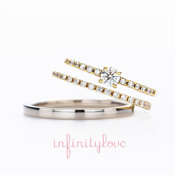 ダイヤモンドラインが美しい女性らしい華奢な指輪