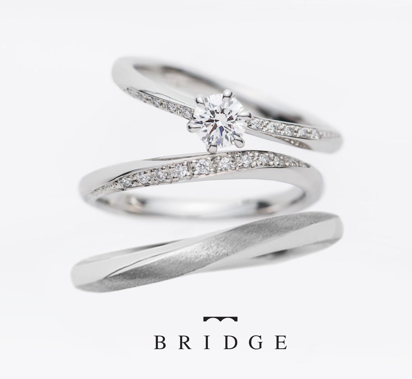 BRIDGE銀座がおすすめする春にピッタリのダイヤモンドラインが美しい大人可愛い婚約指輪と結婚指輪