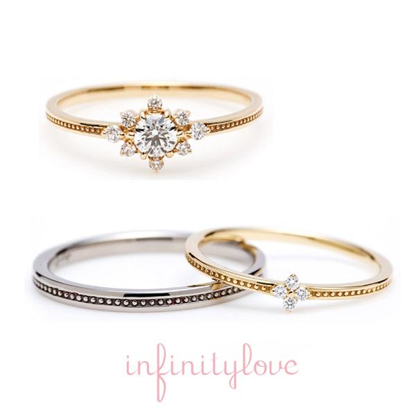 ヒマワリをモチーフにした結婚指輪・婚約指輪。アンティーク調で可愛いオススメのリングです。