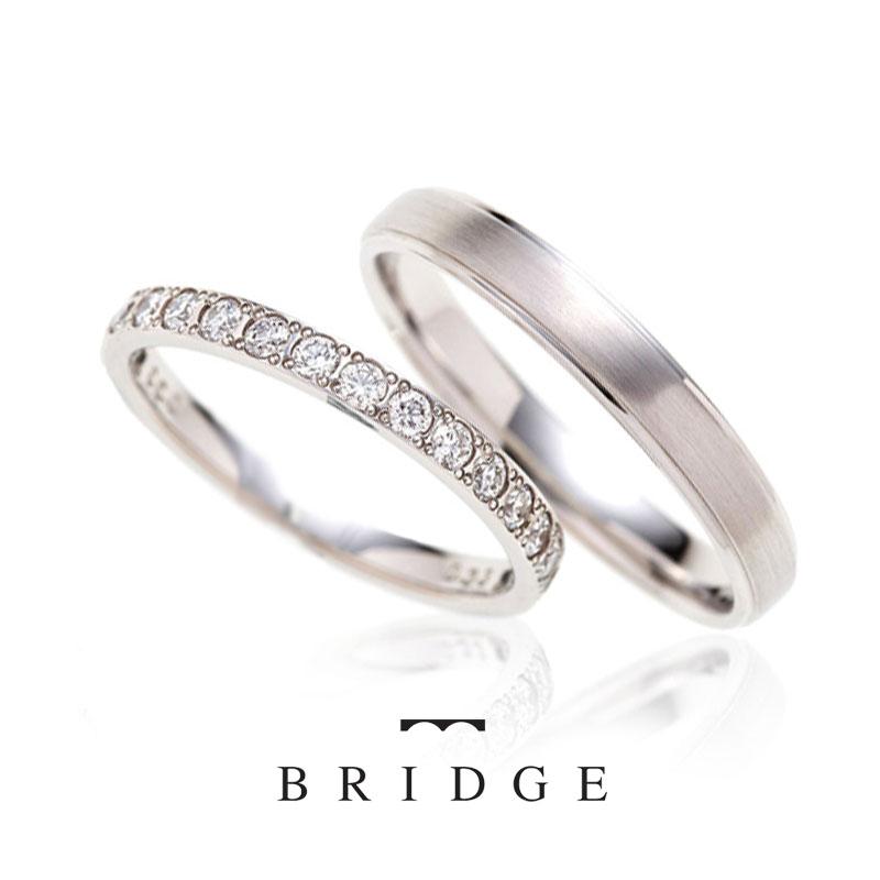 Sunset Beach BRIDGE銀座の煌めく水面は、ダイヤモンドが美しく、エレガントで男性にも女性にも人気の結婚指輪です♪