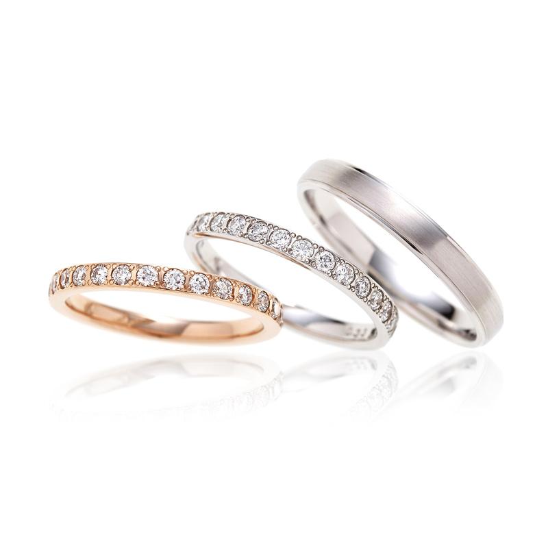 BRIDGE銀座の煌めく水面は、ダイヤモンドが美しく、エレガントで男性にも女性にも人気の結婚指輪です♪