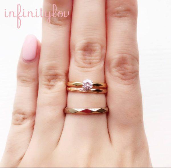 カッティングがきれいなsunshineサンシャイン結婚指輪インフィニティラブのセットリングブリッジ銀座ダイヤモンドを選んでセミオーダー