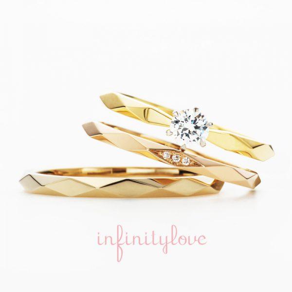 ブリッジ銀座アントワープブリリアントギャラリーで人気のファセットが美しく、大人かわいい婚約指輪と結婚指輪 サンシャイン