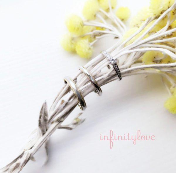 テラコッタ レンガのモチーフ 結婚指輪 個性的なデザインで人と被らない コンビ アンティーク
