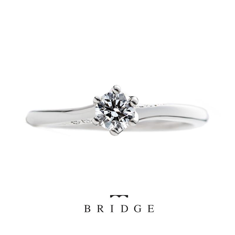 未来への船出はブリッジ銀座の人気エンゲージリングデザイン喫水線に見立てたさりげないダイヤモンドが人気