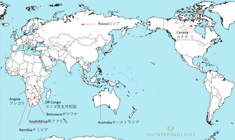 AntwrepbrilliantGALLERYダイヤモンドの産地ブリッジ銀座ボツワナ産高品質ソーヤブル原石使用アントワープ研磨IIDGR