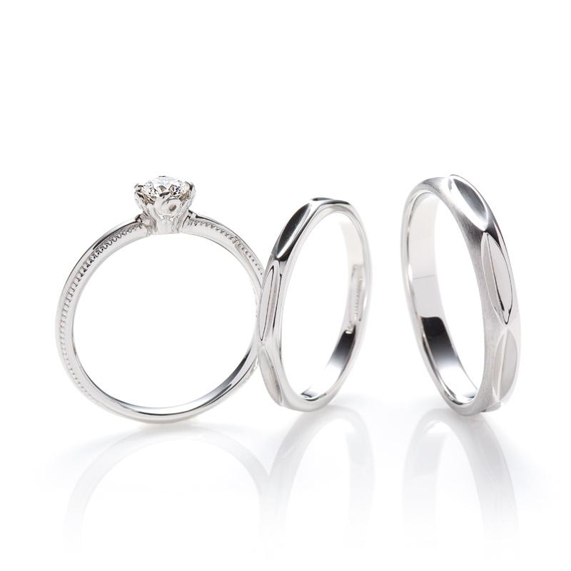 婚約指輪と結婚指輪ミルグレインのセット