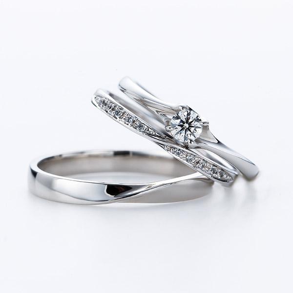 ほそみでかわいい婚約指輪と結婚指輪のセットリング