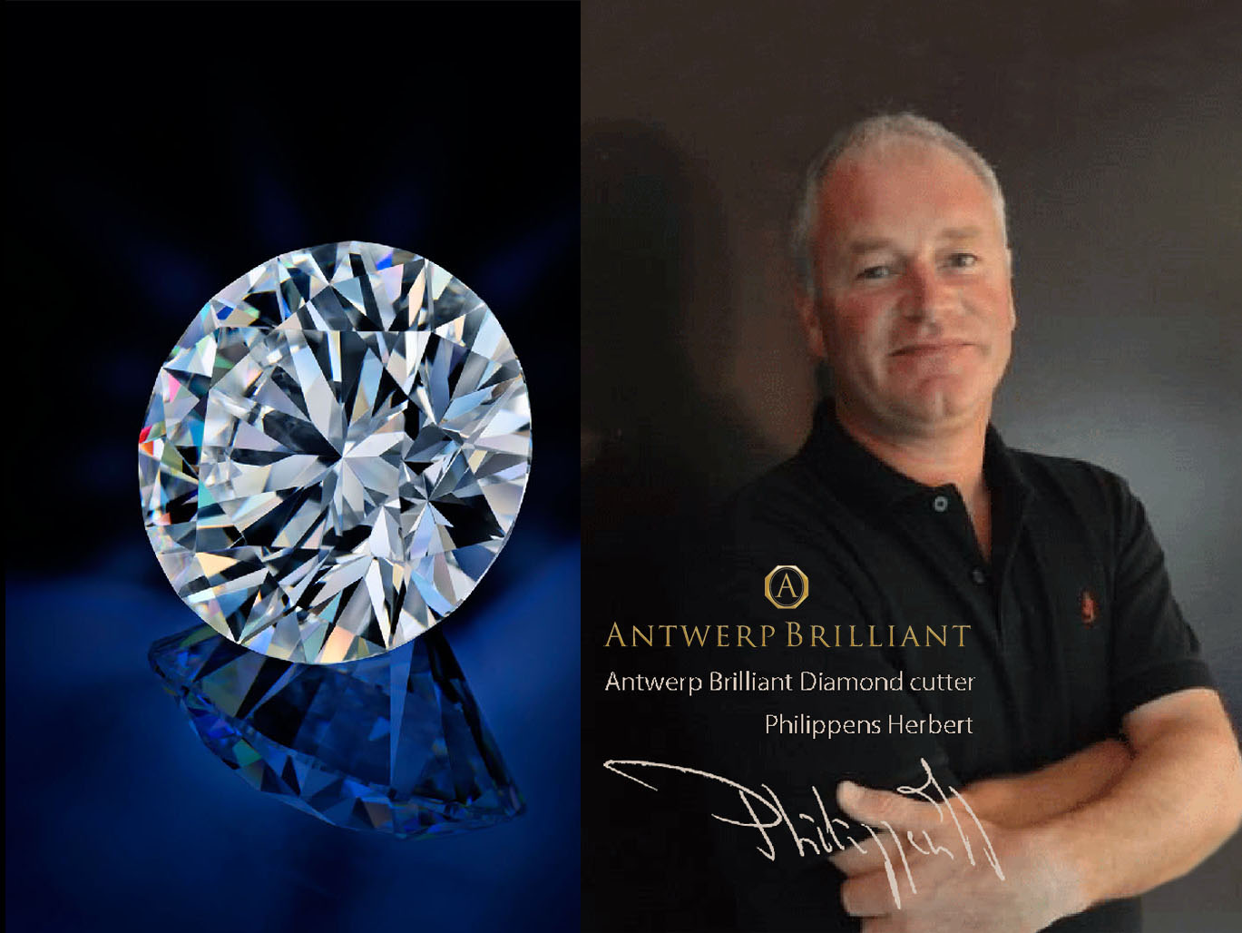 master diamond-cutter Phillippens Herbert is based in Antwerp and make heart&Cupid in 1993