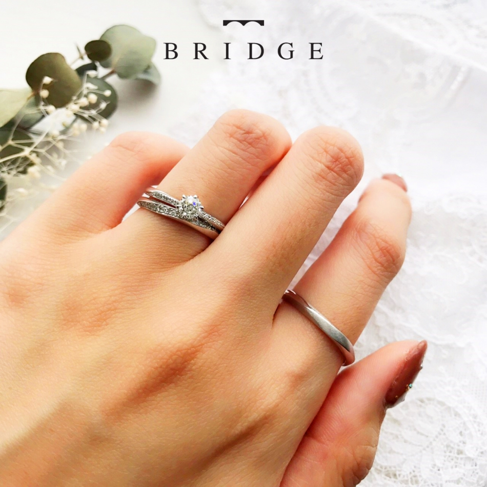 やわらかな春風BRIDGE銀座 重ねつけセットリング 王道シンプル ウェーブ ダイヤモンドラインが大人かわいい エレガントスタイル