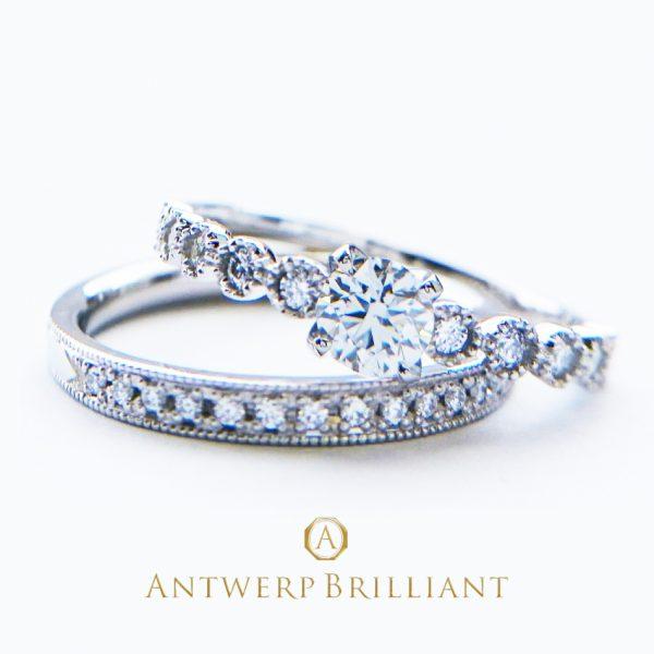 ブリッジ銀座で人気のアンティーク調がカワイイ婚約指輪と結婚指輪