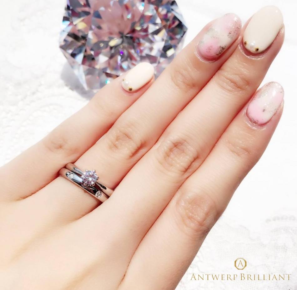 東京 銀座 サプライズプロポーズ 大人可愛い シンプル 婚約指輪 結婚指輪