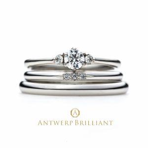 シンプル華奢2mm幅以の結婚婚約リングのセットスリーストーンダイヤハードプラチナ