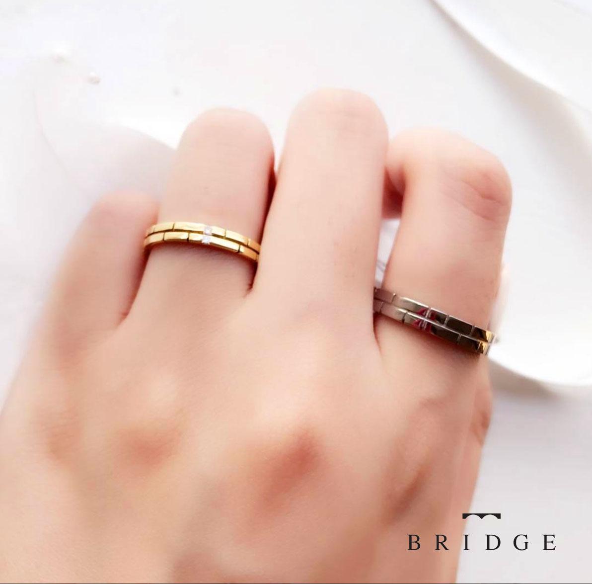 節高・がっちりした指にもよく似合う可愛い結婚指輪